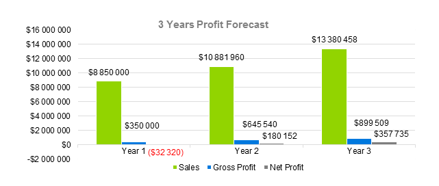Hotel Business Plan - 3 Years Profit Forecast