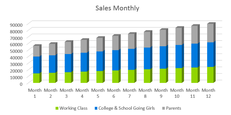 Clothing Line Business Plan - Sales Monthly