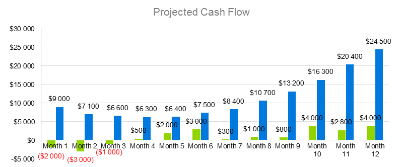 E-Learning Business Plan - Projected Cash Flow