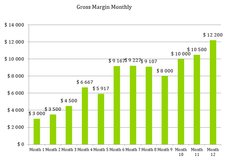 Hair Extensions Business Plan - Gross Margin Monthly