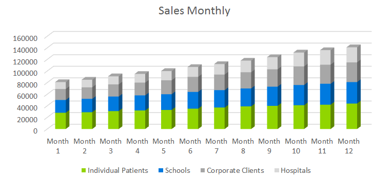 Occupational Therapy Business Plan - Sales Monthly