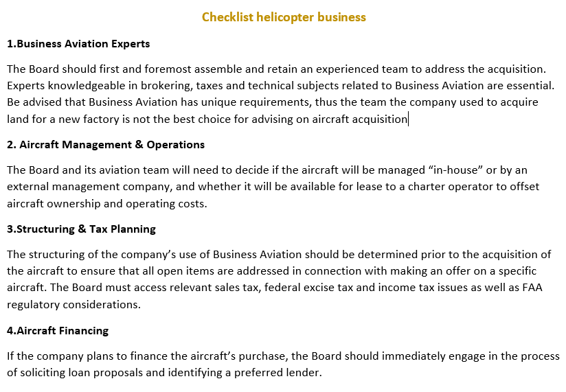 Helicopter business organization