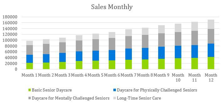 Senior Daycare Business Plan Example - Sales Monthly