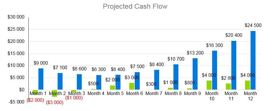 Cooke Company Business Plan - Projected Cash Flow