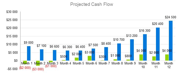 Bar Business Plan - Projected Cash Flow