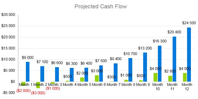 Salon Business Plan - Projected Cash Flow