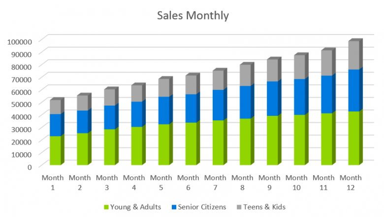 Salon Business Plan - Sales Monthly