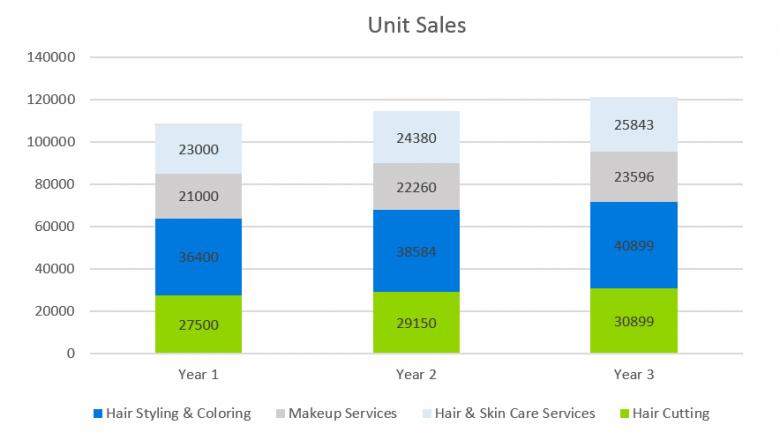 Salon Business Plan - Unit Sales