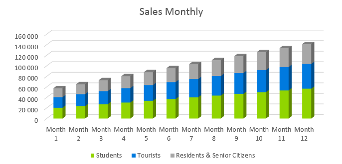 Car Rental Business Plan - Sales Monthly