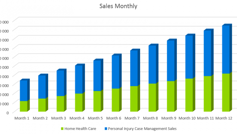 Home Helth Care Business Plan - Sales Monthly