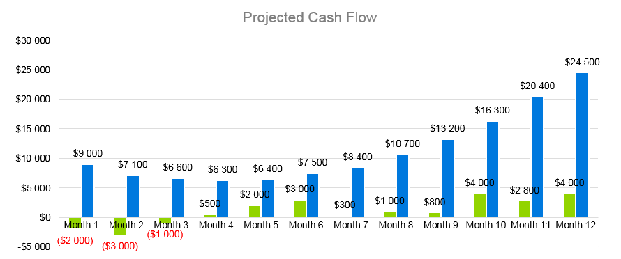 Juice Bar Business Plan - Projected Cash Flow