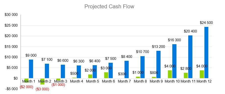 Projected Cash Flow - Sports Bar Business Plan Example