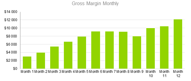 Spa Business Plan Sample - Gross Margin Monthly
