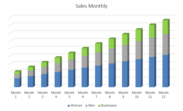 Drop Shipping Business Plan - Sales Monthly