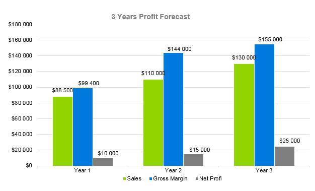 Massage Therapy Business Plan - 3 Years Profit Forecast