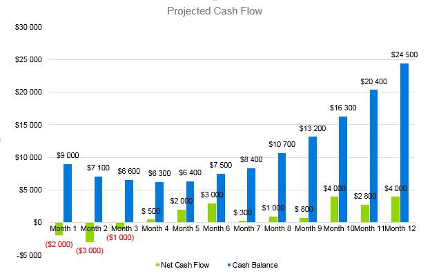 Shaved Ice Business Plan - Projected Cash Flow