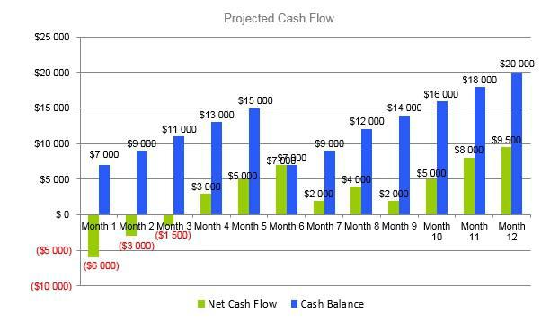 Vape Shop Business Plan - Projected Cash Flow