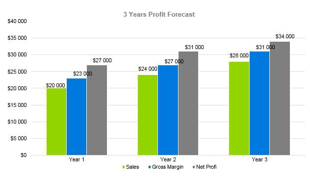 Eyelash Business Plan - 3 Years Profit Forecast