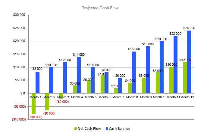 Eyelash Business Plan - Projected Cash Flow