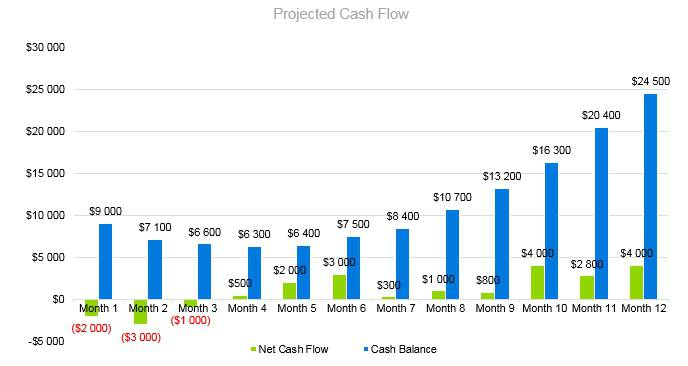 Frozen Yogurt Business Plan - Projected Cash Flow