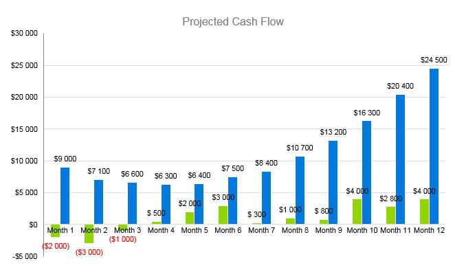 Horse Boarding Business Plan - Projected Cash Flow