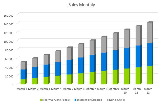 Nursing Home Business Plan - Sales Monthly
