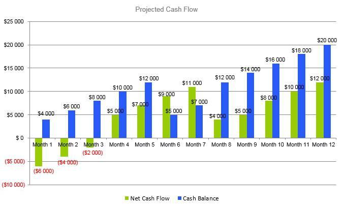 Pet Photography Business Plan - Projected Cash Flow