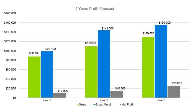 Thrift Store Business Plan - 3 Years Profit Forecast