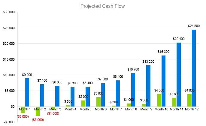 Woodworking Business Plan - Projected Cash Flow