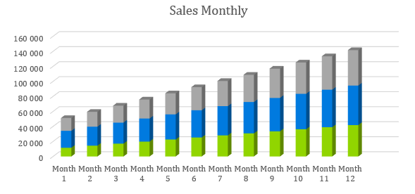 Soap Manufacturer Business Plan - Sales Monthly
