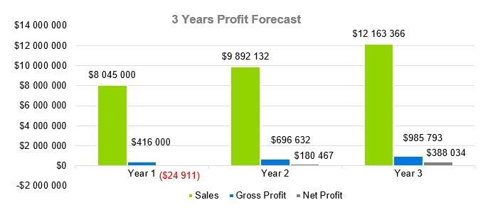 Amusement Park Business Plan Sample - 3 Years Profit Forecast
