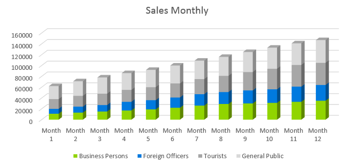 Airline Business Plan - Sales Monthly