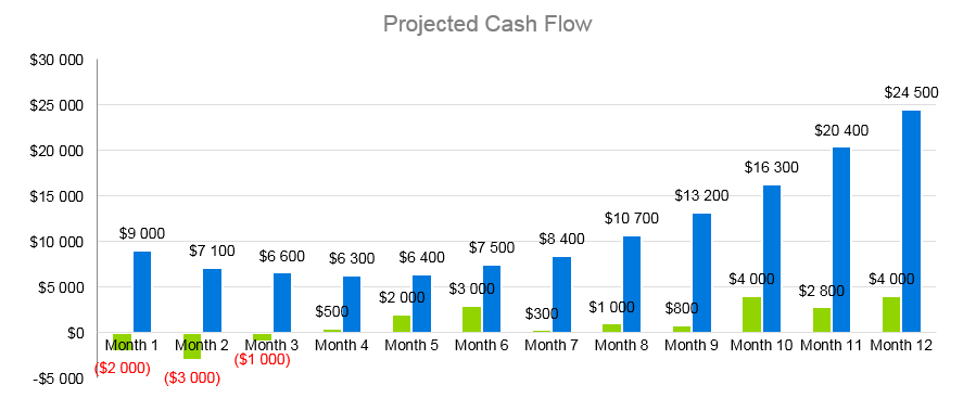 Clothing Retail Business Plan - Projected Cash Flow