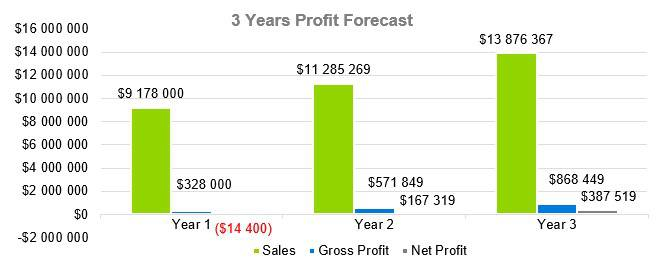 Computer Software Business Plan Sample - 3 Years Profit Forecast