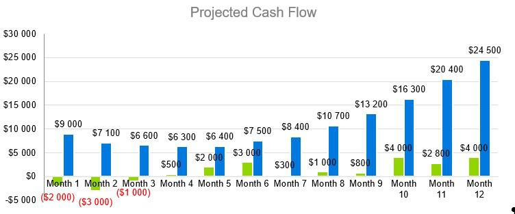 Farmers Market Business Plan - Projected Cash Flow