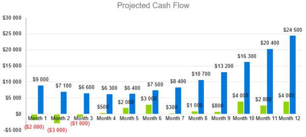 Projected Cash Flow - Boat and RV Storage Business Plan