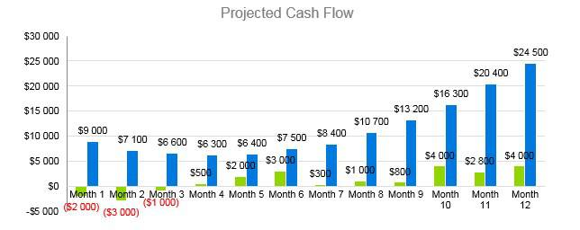 Winery Business Plan - Projected Cash Flow