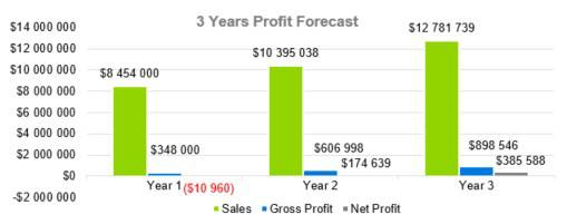 Motel Business Plan Template - 3 Years Profit Forecast
